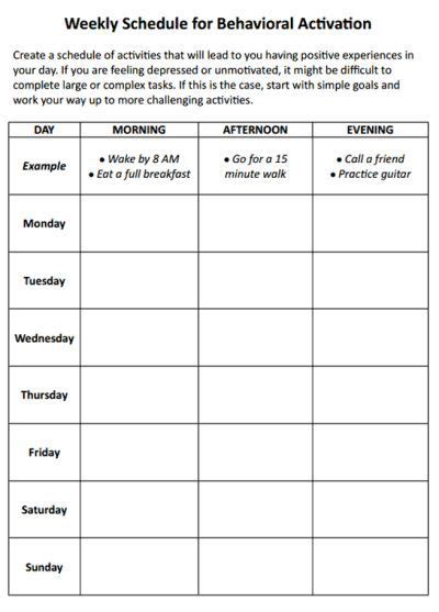Weekly Schedule For Behavioral  Work Ideas  Cbt Worksheets, Behavioral Therapy, Mental Health