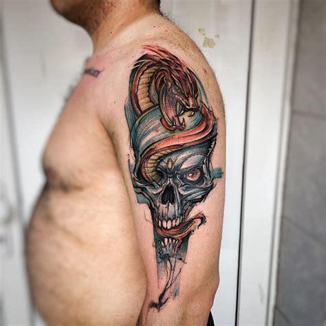red snake blue skull tattoo  tattoo ideas gallery