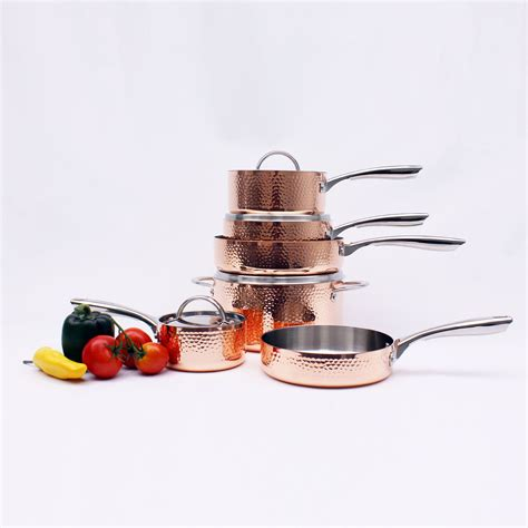 copper tri ply cookware  piece set hammered