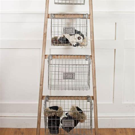 wooden ladder   storage baskets   orchard