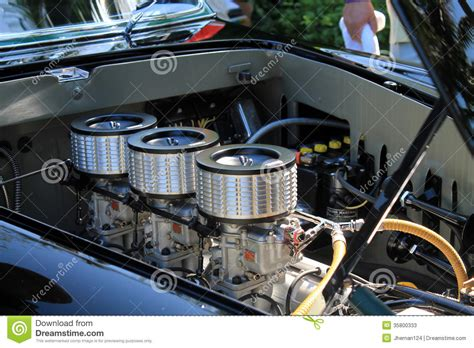 vintage ferrari engine bay view editorial stock photo