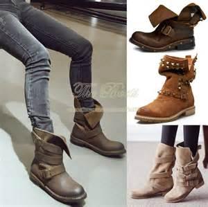 womens boots vintage style genuine leather plus size black brown rivet combat boots vintage retro autumn