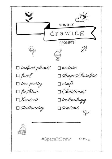 monthly drawing prompts  bullet journaling  printable