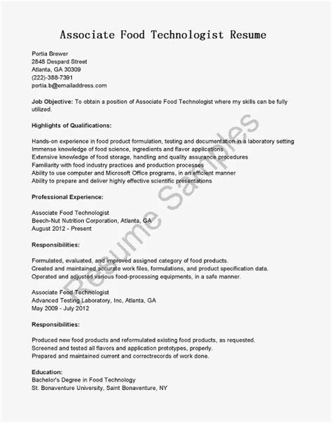 Resume Format For Experienced Food Technologist great sle resume resume sles associate food