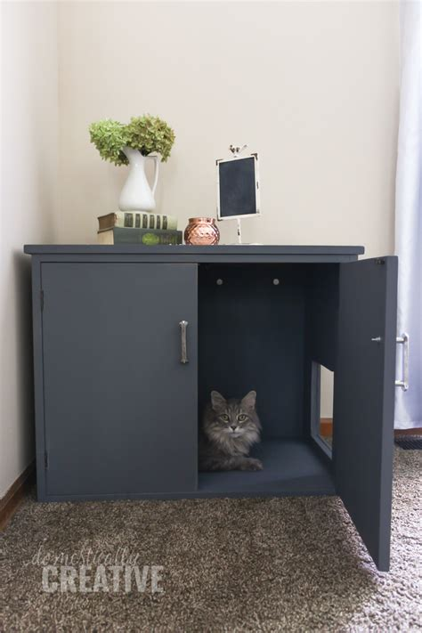 Cabinet Litter Box by Diy Litter Box Cabinet Domestically Creative