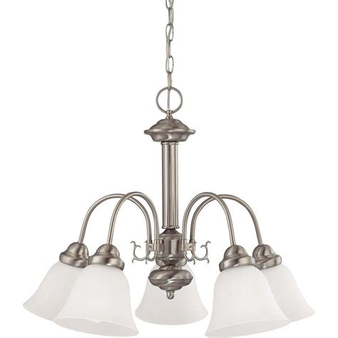 designer kitchen faucets glomar 5 light brushed nickel chandelier with frosted 3240