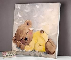 Tableau Chambre Enfant : tableau ourson endormi sur des plumes vente tableau ourson doux pour enfants doudou nounours ~ Teatrodelosmanantiales.com Idées de Décoration