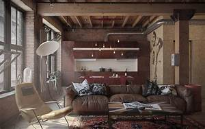 industrial influence abound in masculine apartment