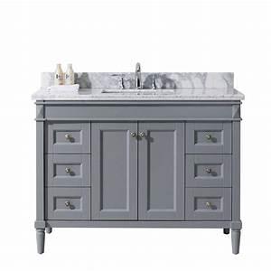 Virtu USA Tiffany 48 In W X 22 In D Vanity In Grey With