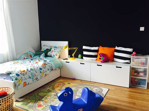 childrens bedside ls bedroom children 39 s room ikea malm bed with stuva storage benches