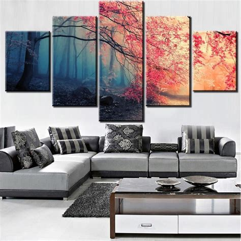 Wall pictures, murals, remodeling and decorating ideas. Cherry Blossoms Red Tree Forest Nature - 5 Panel Canvas Art Wall Decor - Canvas Storm