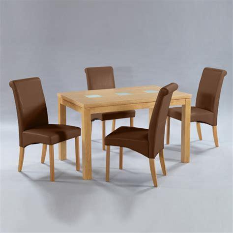manhattan oak veneer dining set with 4 brown dining chairs