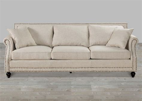 Beige Linen Rolled Arm Sofa With Nailheads
