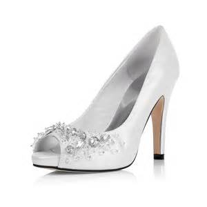 jeweled wedding shoes peep toe rhinestone mid heel sparkling white prom shoes flowerweddingshoes