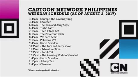 Cartoon Network Philippines Weekday Schedule Update (8-2