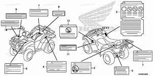 Honda Atv 2013 Oem Parts Diagram For Caution Label