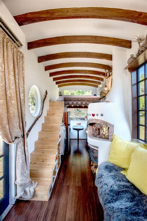 bohemian tiny house constructed  reclaimed