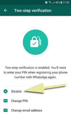 how to remove disable whatsapp two step verification on android how to chat