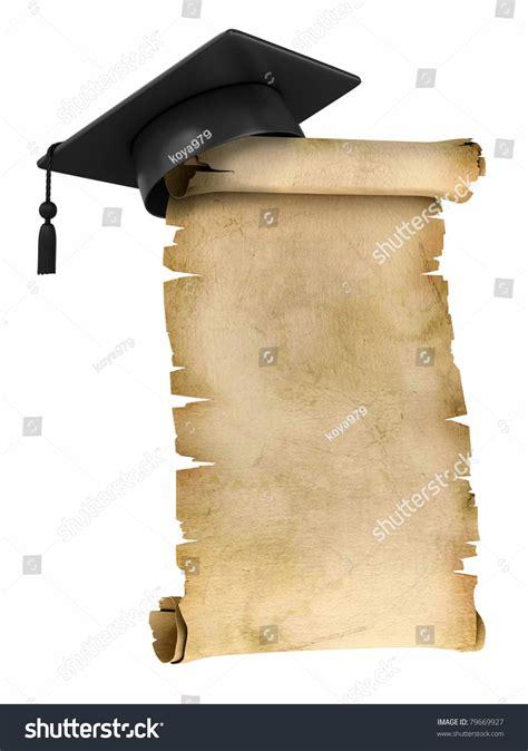 top of graduation cap template graduation cap on top old parchment stock illustration