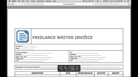 write  freelance writer invoice excel word