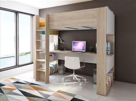 lit à étage avec bureau lit mezzanine noahbureau rangements 90x190cm option matelas