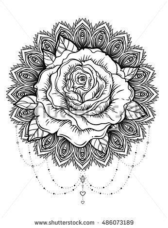 Hand drawn rose flower over ornate round pattern mandala. Vector illustration isolated on white