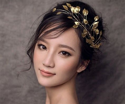 elegant gold leaf hair clip head jewelry women dance