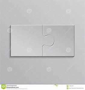 Two Piece Puzzle  2 Step Jigsaw Object  Puzzle  Stock Vector