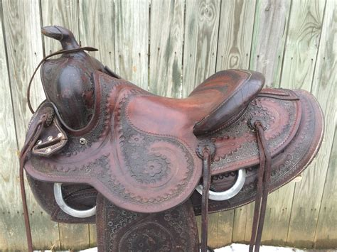 saddle western saddles texas hereford ranch roping tanning 1940 1930 continental shipping tack sold horse weight lbs circa offer cowboy