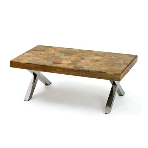 wood coffee table with metal legs 44 quot l cool wood top metal leg coffee table handmade