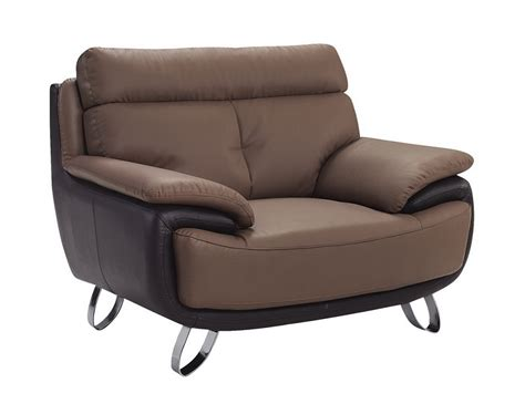 contemporary brown bonded leather living room chair