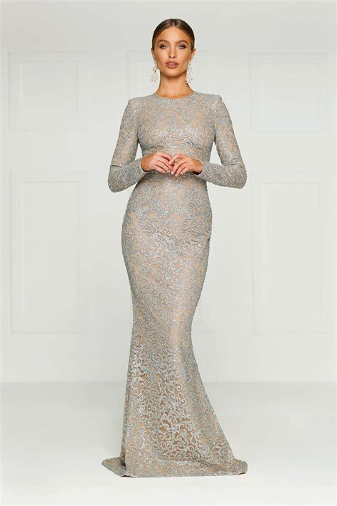 Jolanda Silver Glitter Gown With Long Sleeves And High