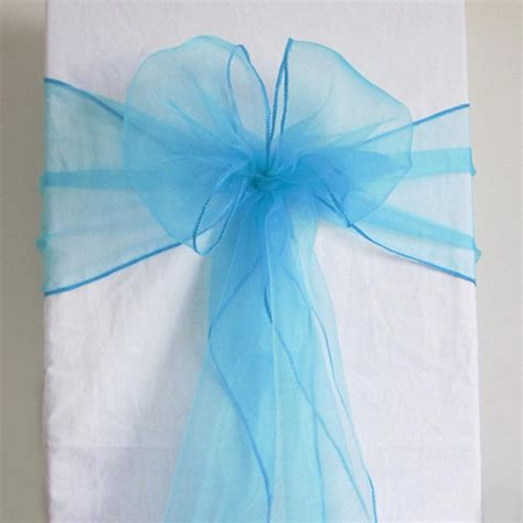 50 aqua blue organza chair sash cover bow wedding
