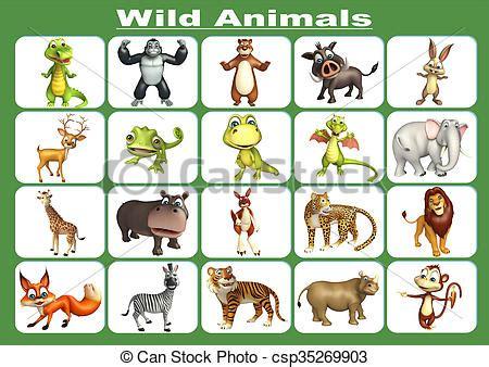 rendered illustration  wild animal chart
