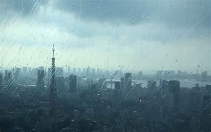 Rain Tokyo Japan Urban Glass Rainy Tower