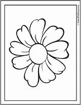 Daisy Coloring Single Colorwithfuzzy sketch template