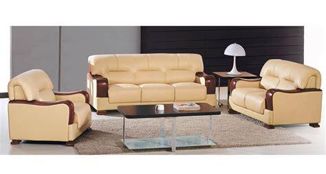 canapé 190 cm deco in ensemble salon en cuir beige 3 1 1 places