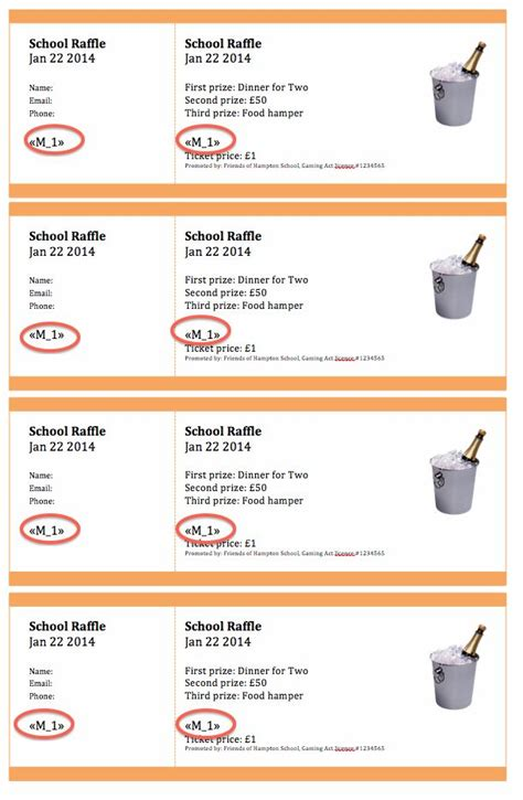 fundraising raffle ticket sample