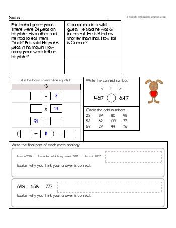3rd grade math review worksheets freeeducationalresources com