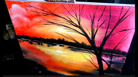 Sunset Simple Abstract Landscape Painting By Dranitsin