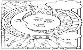 Sun and Moon Coloring Pages Adult