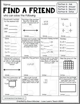 end of year activities math review of grade 3 concepts