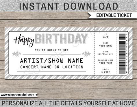 printable concert ticket template printable birthday gift voucher