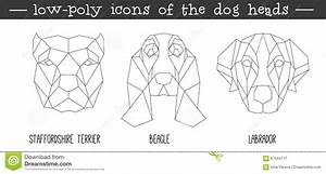 Front View Of Dog Head Triangular Icon Set Stock Vector ...