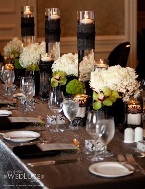 Black And Cream Reception Table Scape In 2019 Wedding