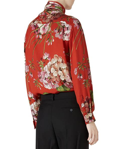 gucci blouse gucci floral print silk blouse in black lyst