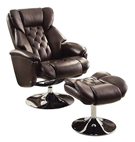 brown bonded leather swivel reclining chair w