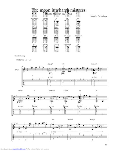 the moon is a harsh guitar pro tab by pat metheny musicnoteslib