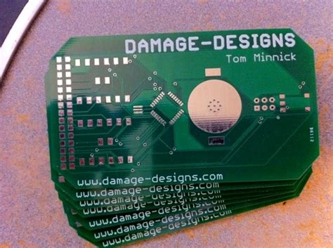 damage designs circuit board business card hacked gadgets diy tech