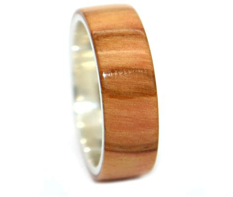 olivewood sterling silver wooden rings